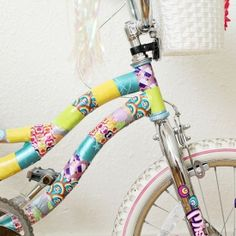 Instead of repainting, try making over a bike with colorful duct tape!