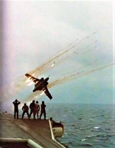 RP fired from Buccaneer alongside HMS Ark Royal. Mid A spectacular morale booster for those working on deck Military Jets, Military Aircraft, Blackburn Buccaneer, Image Avion, Royal Navy Aircraft Carriers, Hms Ark Royal, South African Air Force, War Jet, Royal Air Force