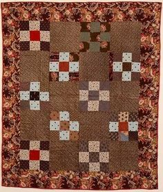 Neuf Patch Crib Quilt: Vers 1880: Pa.