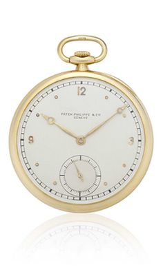 A GOLD OPENFACE POCKETWATCH, BY PATEK PHILIPPE  CIE  The silvered dial with Arabic numeral quarter chapters, subsidiary seconds dial, gilt hands, the mechanical movement, wolfe's tooth winding, the case reverse engraved with 'SB' monogram, 'London 4.3.37.', circa 1930's, 1¾ ins. diameter The case, dial and movement signed Patek Philippe  Cie, Geneve Movement # 825'718 Case # 416'858