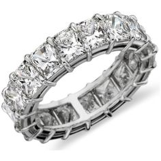 Blue Nile Radiant-Cut Diamond Eternity Ring in Platinum (7.68 ct. tw.) ($26,750) ❤ liked on Polyvore