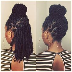 You can find Dreadlock hairstyles and more on our website. Dreadlock Styles, Dreads Styles, Dreadlock Hairstyles, Protective Hairstyles, Braided Hairstyles, Curly Hair Styles, Natural Hair Styles, Wedding Hairstyles, Leda Muir