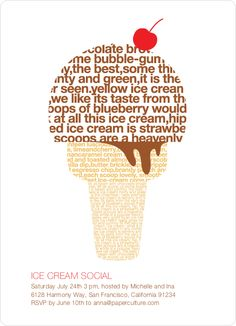 Ice Cream Social Summer Party Invitations