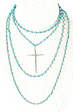 Hey, I found this really awesome Etsy listing at https://www.etsy.com/listing/225820739/turquoise-and-pave-diamond-cross