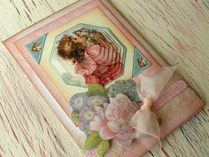 Vintage style Card 4 x 6 Girl and kitten Happy by 4SeasonCards, €3.50