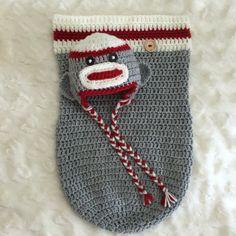 Baby Sock Monkey Cocoon & Hat set, Newborn photo shoot prop, Handmade crochet by LaceyRoseKnits on Etsy https://www.etsy.com/ca/listing/470748303/baby-sock-monkey-cocoon-hat-set-newborn