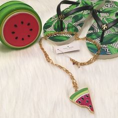 "NWT kate spade Watermelon Pendant Necklace! NWT kate spade Watermelon Pendant Necklace!  Comes with kate spade jewelry dust pouch.  DETAILS: * shiny 12-karat gold plated metal with glass stones and enamel fill FEATURES: * lobster claw closure * weight: 33.8g * chain length: 34"" * handcrafted. TRADES kate spade Jewelry Necklaces"