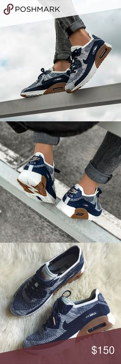 Nike Air Max 90 Flyknit Ultra 2.0 Sneakers •Navy flyknit sneakers with gum sole contrast.  •Women's size 8, true to size.  •New in box, no lid.  •No trades, no holds. Nike Shoes Sneakers