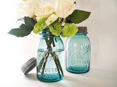 Blue Mason Jars, Turquoise Wedding Decor, Antique Ball Canning Jar, Table Setting Centerpiece Vase via Etsy