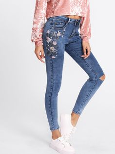 Shop Botanical Embroidery Ripped Knee Jeans online. SheIn offers Botanical  Embroidery Ripped Knee Jeans   more to fit your fashionable needs. b82ecc9ea1