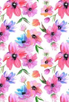 Watercolor Seamless Patterns with Pink and Purple flowers Flower Phone Wallpaper, Summer Wallpaper, Cute Wallpaper Backgrounds, Pretty Wallpapers, Colorful Wallpaper, Flower Aesthetic, Background Pictures, Watercolor Illustration, Pattern Wallpaper