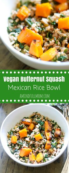 Vegan Butternut Burrito Bowl: Brown rice, roasted butternut squash are tossed together with kale and Tex Mex Seasonings for an easy meatless meal. | Gluten Free Burrito Bowl | Vegan Burrito Bowl | Easy Mexican Rice | butternut Squash recipes | easy vegan recipes #GlutenFree #Vegan #EasyRecipe