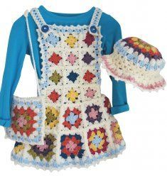 Little Girls Granny Square Apron Style Jumper Hat and Purse Set