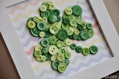 DIY: Shamrock Button Art with Rainbow Chevron Background St Patrick's Day Crafts, Holiday Crafts, Fun Crafts, Family Crafts, St Paddys Day, St Patricks Day, St Pattys, Saint Patricks, Button Art