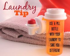 Laundry Tip - Let me show you how to use a pill bottle and save laundry detergent