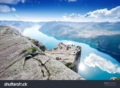 Cliff Preikestolen At Fjord Lysefjord - Norway - Nature And Travel Background Стоковые фотографии 433239040 : Shutterstock Stavanger, Trondheim, Cool Places To Visit, Great Places, Beautiful Places, Tromso, Grand Tour, The Tourist, Norway Nature