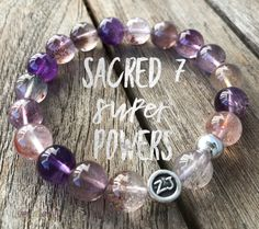 Also known as Super 7 Crystal or Melody Stone, this unique and rare bracelet has many super powers! It reminds you that you are a child of the earth and the stars.  This high vibration gemstone is a spiritual powerhouse & brings exceptional clarity.  It is said to be shifting the vibratory level of the planet & everything upon it. Sacred 7 supports and heightens the vibration of other crystal in its vicinity.  It activates the 7 chakras sacred 7 | melody stone | 7 chakras | chakra stones…