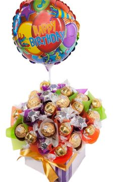 Send your birthday wishes with this delicious bouquet of creamy milk and white chocolate with a Happy Birthday Balloon. Happy Birthday Balloon 10 x White Chocolate Lindt Balls 10 x Ferrero Rocher Chocolates 10 x Silver Milk Chocolate Stars Presented in a Send Balloons, Balloons Online, Happy Birthday Balloons, Birthday Wishes, Birthday Ideas, Balloon Arrangements, Flower Arrangements, Candy Trees, Ferrero Rocher Chocolates