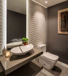 Современный дизайн туалета - фото в серых и белых тонах