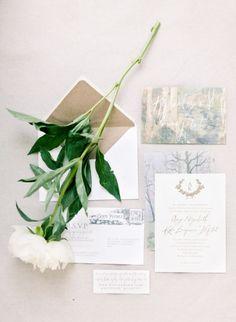 Romantic+Watercolor+Wedding+Invitation+|+Brumley+and+Wells+|+See+More!+http://heyweddinglady.com/modern-garden-deconstructed-industrial-loft-wedding/+Gown