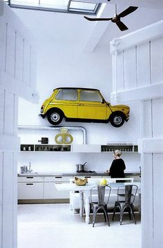 mini cooper in the kitchen. Style At Home, Interior Styling, Interior Decorating, Interior Design, Design Interiors, Decorating Ideas, Interior Architecture, Interior And Exterior, Yellow Interior