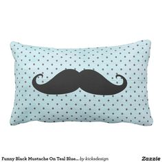 Funny Black Mustache On Teal Blue Polka Dots