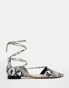ASOS Lace Up Pointed Ballet Flats