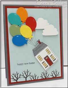 Holiday Home, New Home card, Stampin' Up!, #stampinup, punch art, balloons, Connie Babbert, www.inkspiredtreasures.com