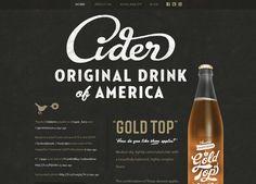 Dark website design example: Gold Top Cider. Soft background. Cider. Gold. Type.