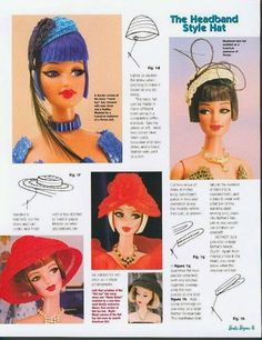 Herbie's Doll Sewing, Knitting & Crochet Pattern Collection: Barbie Bazaar - Sewing Patterns for Vintage Style Barbie Hats Crochet Barbie Clothes, Sewing Doll Clothes, Sewing Dolls, Doll Clothes Patterns, Doll Patterns, Crochet Patterns, Barbie Hair, Barbie Dolls, Accessoires Barbie