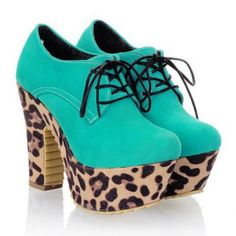 Cheap Wholesale Spring New Style Tie Up Design Chunky Heel Leopard Pattern Pumps For Women (BLUE,37) At Price 23.10 - DressLily.com