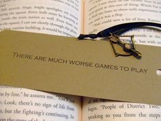 Much Worse Games To Play - Hunger Games Mockingjay Quote Bookmark - Bow and Arrow Charm
