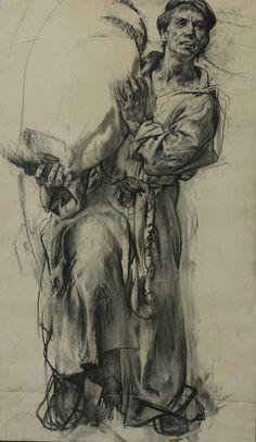 """Nikolai Blokhin / A Man with a Bag 39""""x28"""", paper, sauce, 1994"""