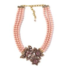 """Sparkling Luminescence"" Pearl Crystal Drop Necklace is a stunning example of feminine design combined with colored pearls. Each flower features bezel-set Swarovski crystals, marquise-cut crystal petals and round crystal accents with open crystal-encrusted borders."