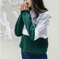 Autumn New Spell Color Stitching Harajuku Women Hoodies Pullover Fleece Loose Female Tracksuits Casual Round Neck Sweatshirt 2XL