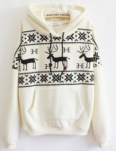Sweater Style with the comfort of a sweatshirt... Love it :)Beige+Long+Sleeve+Deers+Print+Pocket+Front+Hoodie+US$27.70