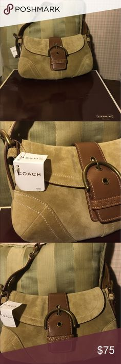 Host Pick  NWT suede Coach shoulder bag. Brand new with tag. Suede authentic Coach bag with big front buckle. Coach Bags Shoulder Bags