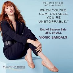 Don't miss out on our Annual VIONIC Sandal Sale.  Feet were designed to walk on soft, natural elements like soil and sand, not the hard, flat man-made surfaces that make up so much of our modern world. Our sandals hug your arches like a natural footprint giving you all-day support.  Orthaheel technology helps promote alignment from the ground up. It's built into all VIONIC sandals.  All VIONIC SANDALS are 25% off for a limited time. Supplies are limited. . . #vionic #vionicshoes #sandals End Of Season Sale, Magnolia Homes, Sandals For Sale, Spa Day, Footprint, Arches, Hug, Salons, Technology