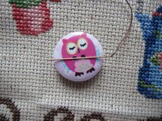 Never lose a needle again! This beautiful pink owl needle minder is made with wooden buttons and strong magnets! The back magnet has a Needle Minders, Pink Owl, Coupon Codes, Magnets, Cross Stitch, Strong, Buttons, Etsy, Beautiful
