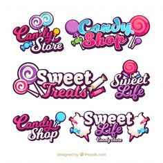 Candy shop logos collection for companies Free Vector Design Food Logo Design, Logo Food, Text Design, Shop Logo, Typography Logo, Typography Design, Logo Dulce, Letras Abcd, Sweet Logo
