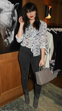 The face of the collection Daisy Lowe arrived in a pair of grey skinny jeans and patterned...