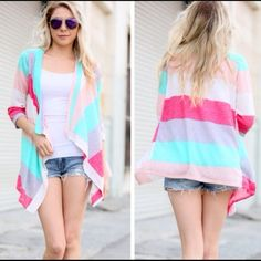 Candy Color Striped Cascading Open Front Cardigan Cardigan features candy colors and waterfall front.  Sides are longer in length than the back.  Material is 96% rayon and 4% spandex.  Price is firm unless bundled.  Bundle discounts are set up in my closet! Bundle 3 items for 15% off! Sweaters Cardigans