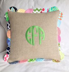 Scalloped Linen Pillow with Monogram by peppermintbee on Etsy, $70.00