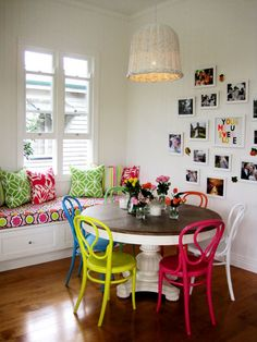 Love the colors of the chairs and nook behind it.