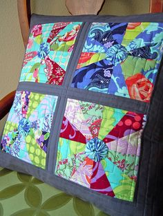 My pillow for Pillow Talk Swap 4 in Amy Butler's Love; adapted from Elizabeth Hartman's Rain or Shine quilt.