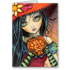 Items similar to ACEO Limited Edition Print - Little Halloween Witch - Fantasy Art Illustration by Molly Harrison on Etsy Halloween Magic, Holidays Halloween, Halloween Crafts, Whimsical Halloween, Witch Art, Artist Portfolio, Halloween Disfraces, Fantasy Art, Illustration Art