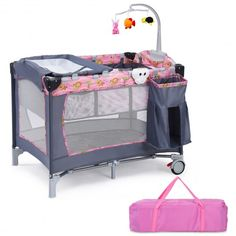 This Baby Playpen is a sturdy and durable accessory that will provide your baby with hours of entertainment. This convenient item has several handy features, such as the double-layer design for babies of different ages. The easy-clean changer provides a place for quick diaper changes, and it can be detached to wash. This baby playpen also features an whirligig with three toys included, and a roomy recreational area for rest or play. Additionally, it has a basket that can hold toys, feeder or… Toddler Playpen, Baby Playpen, Baby Bassinet, Baby Cribs, Toddler Bed, Portable Bed, Pregnancy Pillow, Pink Bedding, Baby Bedroom