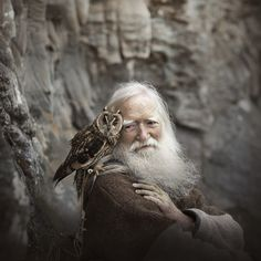 Grandfather and the owl - Elena Shumilova on Animals And Pets, Cute Animals, Wild Animals, Baby Animals, Tier Fotos, Jolie Photo, People Of The World, The Rock, Beautiful Creatures