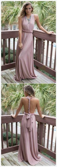 2017 Custom Made Elegant Pink Prom Dress,Halter Open Back Party Dress,High Quality
