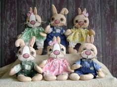 SILLY WABBITS - BABIES-cloth doll patterns, primitive doll patterns, doll sewing patterns, primitive, country, whimsical, fun, easy, e-patterns, Easter, holiday, doll making, rabbits, bunny, bunnies, rabbit, cloth, doll, cloth dolls, Easter, rabbit, rabbits, bunny, bunnies, cloth doll, dolls, animal, Easter